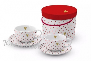Porcelánové šálky na cappuccino - Little Hearts (200ml)